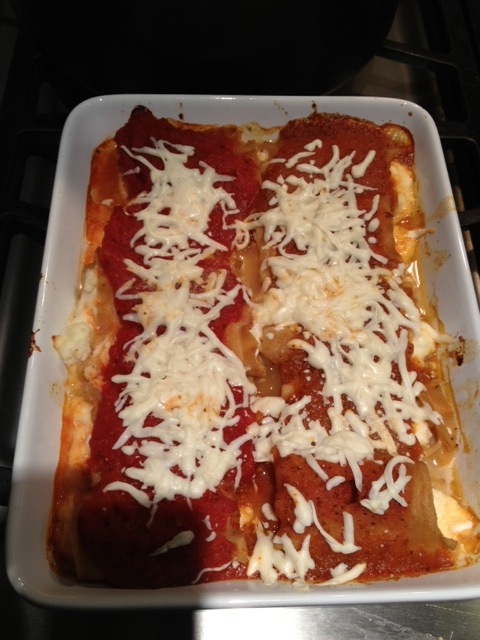My low-fat, low-salt manicotti, One of these has 128 calories, 1.8 grams of fat and 70 mgs of sodium. I eat five at a time