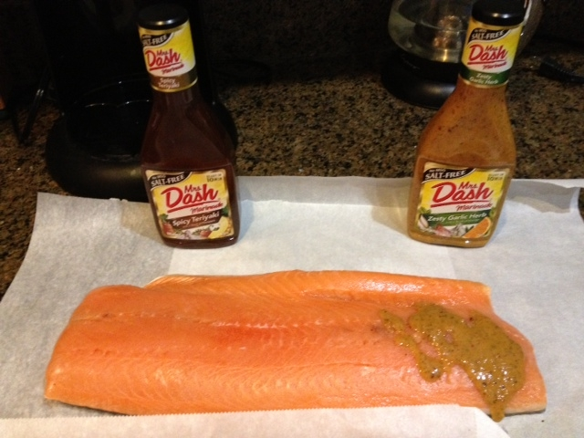 Preparing salmon with Mrs. Dash no-salt marinades. Regular stores don't carry these marinades, order them online at Amazon.com