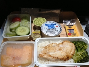 A low-salt airline meal on Delta...cheese, salad dressing, white rice? Really?