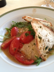 MY main course, tuna and tomatoes in a  light tomato sauce with greens.
