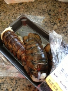 Three lobster tails that started as four ounces each; meat weight -- 2.5 ounces.