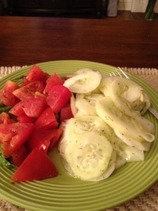 My dinner one night, two great summer salads.