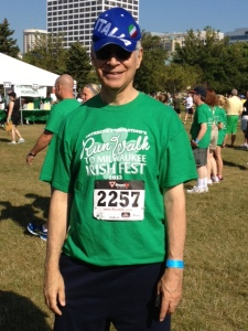 Me preparing for the Irishfest 5K in Milwaukee. I'm Italian-American by birth and Irish-American by education, having attended Irish-run Catholic schools in New York where I learned all the Irish songs and had St. Patrick's Day off as a holiday.