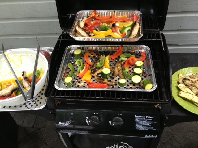 I'm using my gas grill here but have done them on charcoal as well for an outdoorsy taste.