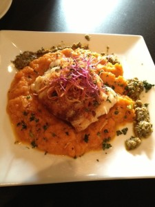 Halibut on a carrot puree at INdustri Cafe