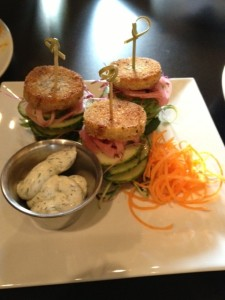 Cucumber sliders with onions, a fun small plate.