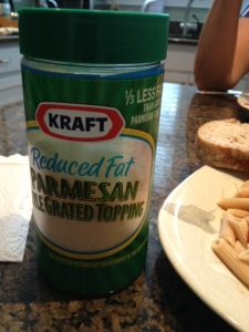 Reduced fat parmesan.