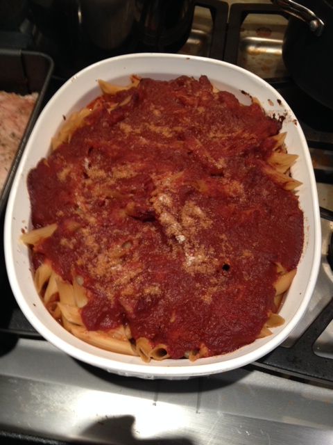 Baked mostaccioli, gotta love it, and it's low salt and low fat.