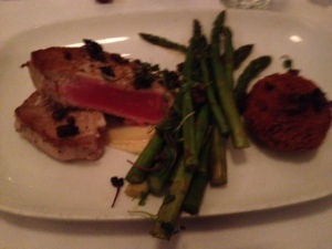My salty tuna with asparagus and sauce underneath, a nice presentation