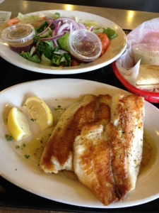 Dengeo's tilapia dinner with a salad instead of fries.
