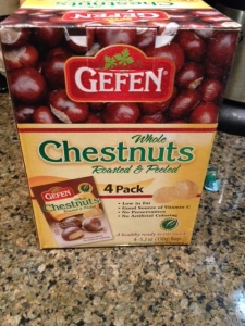 PRe-cooked, pre-peeled chestnuts, I found them at Costco but you can shop online for them as well.