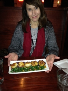 My beautiful wife Carolyn displays our scallops appetizer.