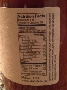 Nutrition info for LocalFolks barbecue sauce.