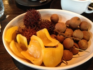 My exotic fruit plate, a really fun dessert that I don't think violated any of my restrictions for fat, sugar or salt.