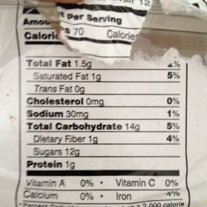 Nutritional info for chocolate chewies.