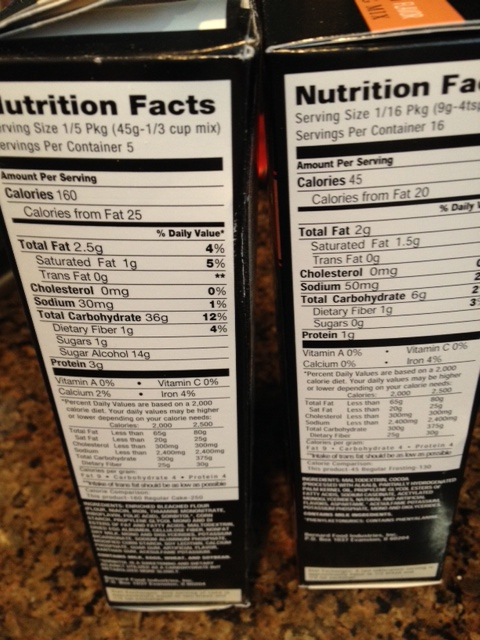 Nutrition info for the cake and frosting.