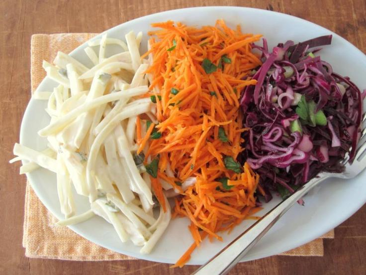 Salads of celery root, carrots and cabbage, they look very tasty,