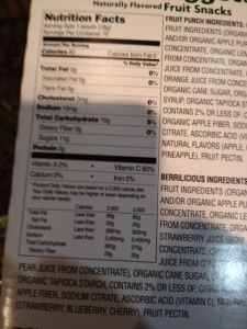 Florida organic nuggets nutrition panel tells the tale, lots of sugar in these tiny packets.