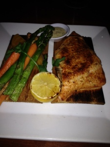My Seasons 52 salmon with asparagus and carrots, a great low-sodium dish.