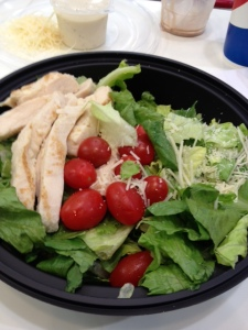 You're left with a relatively healthy salad with chicken.