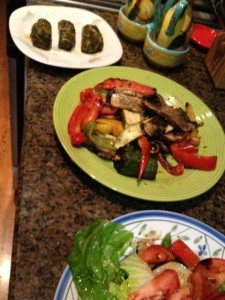 Grilled veggies with stuffed grape leaves and a salad, yum.
