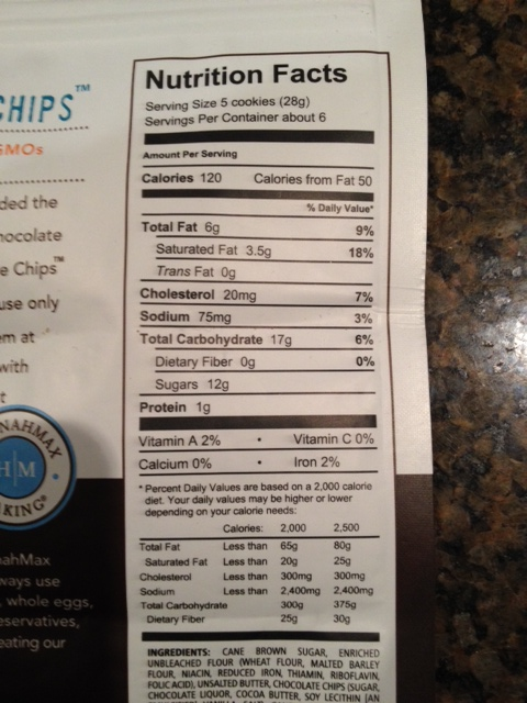 Hannahmax cookie chips nutrition information.