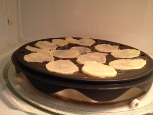 ...then layer the slices on the TopChips cooking dish.