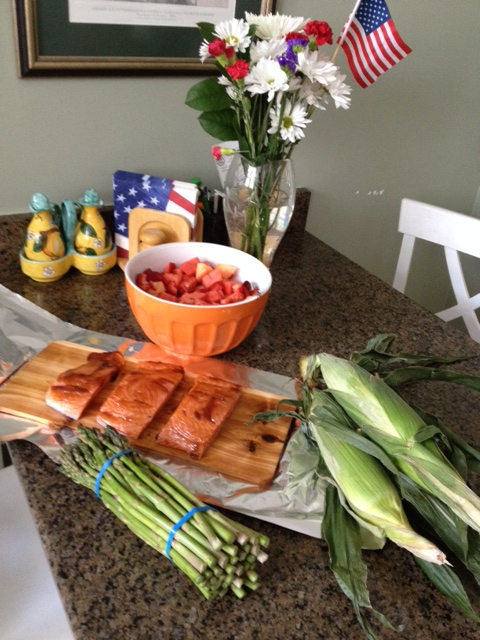My Memorial Day weekend menu, salmon, asparagus, corn and fruit salad.