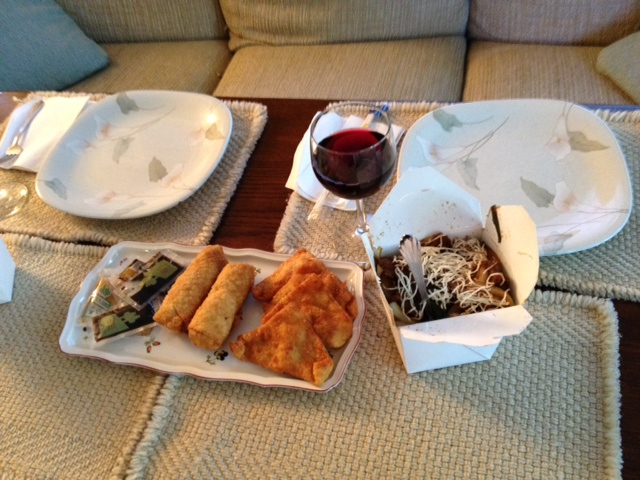 My Chinese birthday dinner, egg rolls, crab rangoon, Mongolian beef. Not shown was the fried rice.