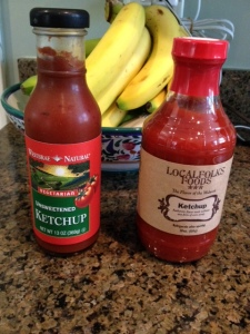 I've found two brands of low-sodium,low-sugar ketchup, Westbrae and LocalFolks Foods.