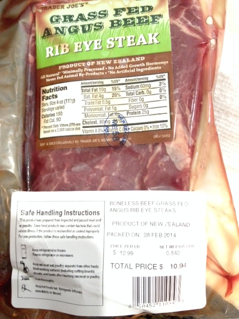 Lean grass-fed ribeye from New Zealand, sold at Trader Joe's for $12.99 a pound.
