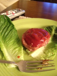 Turkey burger in a lettuce wrap with low-salt, low-sugar ketchup.