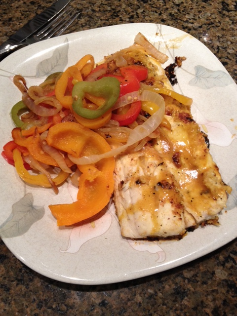 My walleye with peppers and onions.