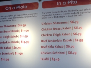 The menu board from a Naf Naf Grill location in Niles, Ill. Other outlets have slightly different offerings.