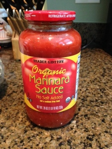 Trader Joe's organic low-salt marinara sauce was a bit peppery for my taste but will do in a pinch.