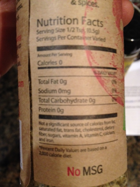 The Outer Spice nutrition label for the salt-free spicy mix.
