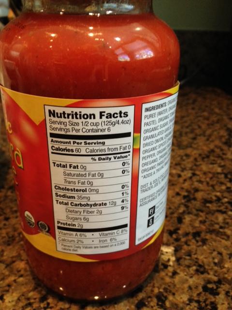Trader Joe's low-salt marinara nutrition information