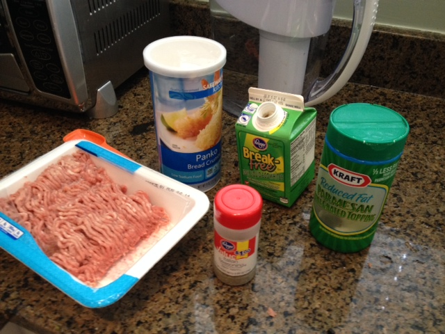 All the ingredients you'll need for your turkey meatloaf.