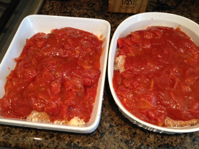 Then coat it all with sauce and bake for an hour at 350. Add fat-free cheese if you like but beware the salt in cheese.