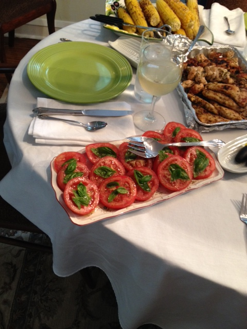 A simple approach, fresh tomatoes, fresh basil and wonderful olive oil.