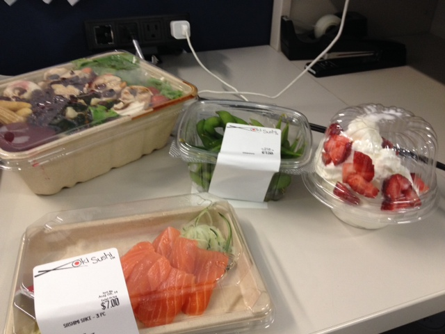 My very expensive attempt to fill up at lunch -- salad, salmon, edamame and frozen yogurt.