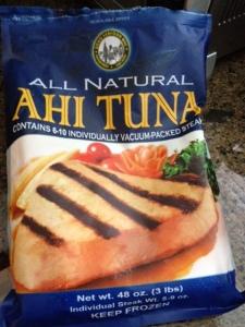 Frozen ahi tuna from Costco.