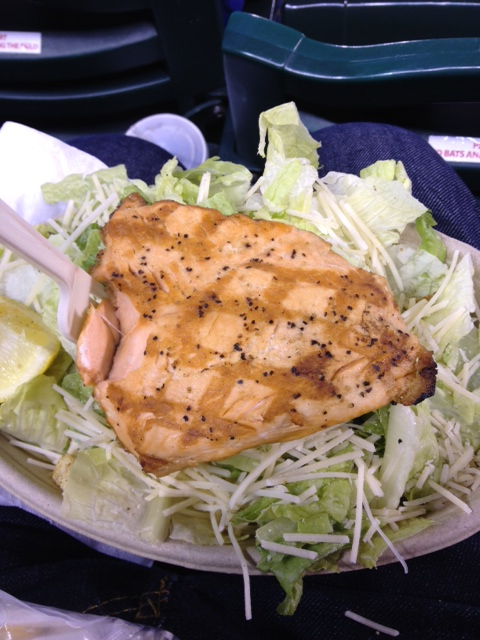 Salmon salad was a great surprise at Safeco Field in Seattle. Bring your own oil and vinegar packets so you can spike the high-fat dressing.