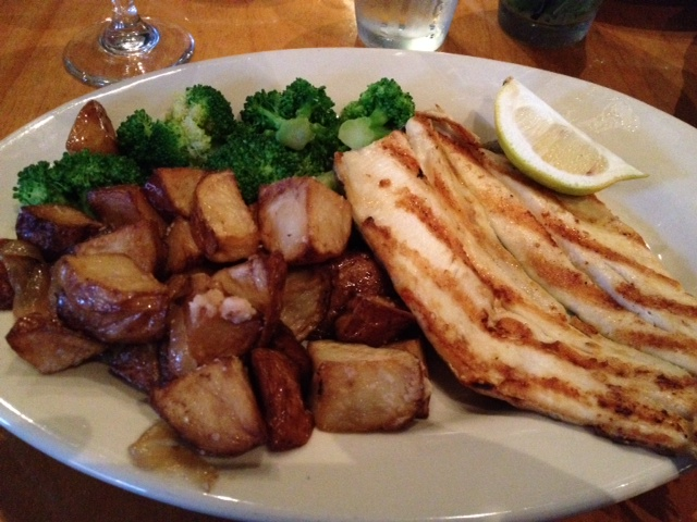 Trout, potatoes and broccoli at PRairie Moon, no salt and no crust but wonderful in taste and simplicity.