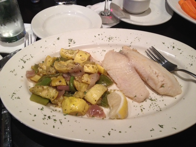 My plain tilapia and squash at the Valley Lodge Tavern, Wilmette.