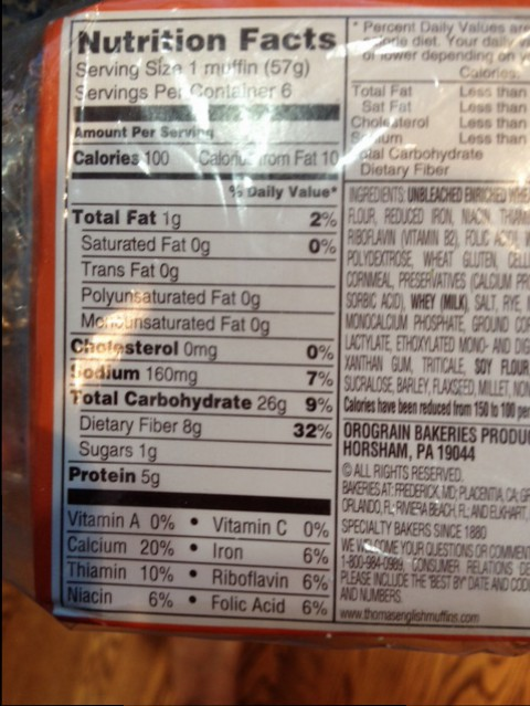 Thomas English muffins nutritional information