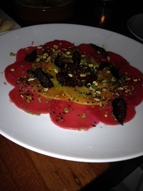 An amazing beet salad at Levant in Portland, OR.