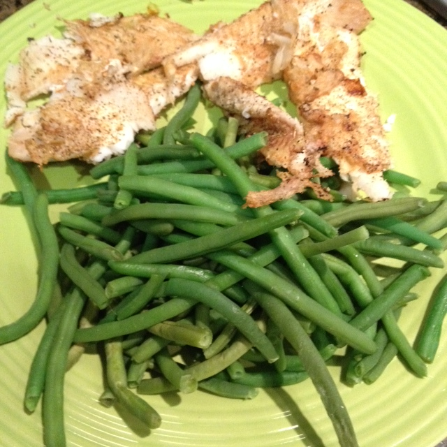 Flounder is delicate, so keep an eye on it while cooking. Here's mine with lots of green beans.