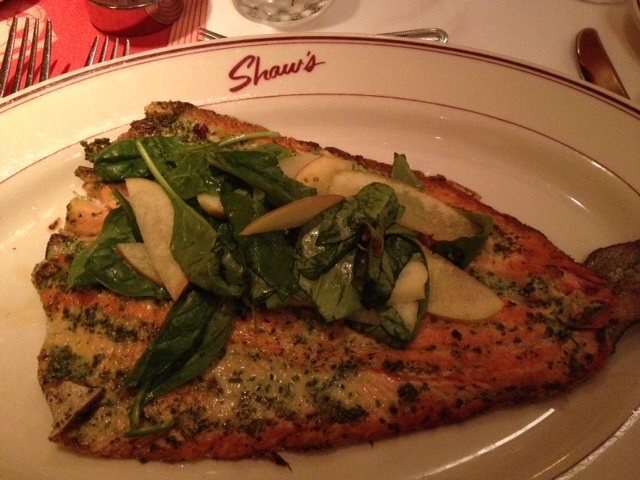 My delicious rainbow trout at Shaw's in Schaumburg.