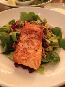 My modified salad with salmon at Crave, perhaps a bit overpriced.
